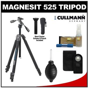 Cullmann Magnesit 525H Aluminum / Magnesium Tripod with 3-Way QR Head with Wireless Remote + Nikon Cleaning & Accessory Kit