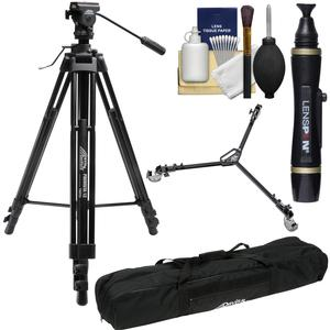 Davis and Sanford ProVista 12 Professional Video Tripod with V12 Head and Case with W3 Universal Dolly + Lenspen + Kit
