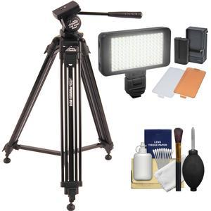 Davis and Sanford 60 inch ProVista 6510 Professional Video Tripod with V10 Head and Case + LED Light Kit + Cleaning Kit