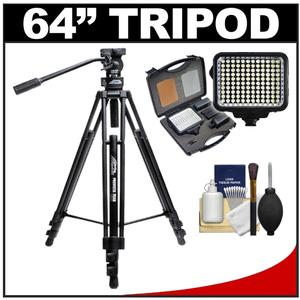 Davis & Sanford 64&quot; ProVista 7518XB Pro Video Tripod with Fluid Head & Case + LED Light Kit + Cleaning Kit