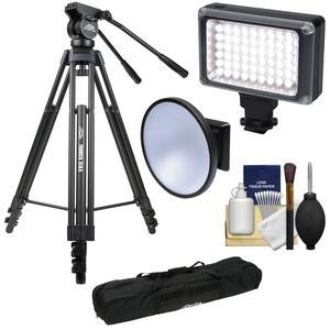 Davis and Sanford 64 inch ProVista 7518B Pro Video Tripod with V18 Fluid Head and Case with LED Video Light and Flash + Diffuser Dish + Kit