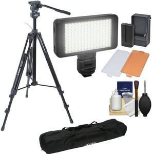 Davis and Sanford 78 inch ProVista 18 Heavy Duty Video Tripod with FM18 Fluid Head and Case + LED Light Kit + Cleaning Kit