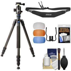 Davis and Sanford 64 inch Traverse Carbon Fiber 4-Section Tripod with Ballhead and Case with Strap + Diffusers + Kit