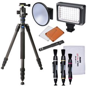 Davis and Sanford 64 inch Traverse Carbon Fiber 4-Section Tripod with Ballhead and Case with LED Video Light and Flash + Diffuser Dish + 3 Lens Pens + Kit
