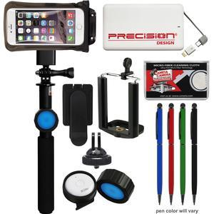 DiCAPac DRS-C2 Waterproof Case and Selfie Stick for Smartphones - Universal up to 5.7├óΓe.25∩┐╜ - with Bluetooth Remote + 5000mAh Power Bank + Stylus Pen + Kit
