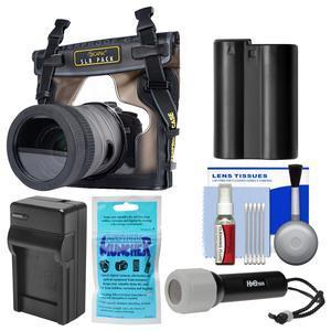 DiCAPac WP-S10 Waterproof Case for DSLR Cameras with EN-EL15 Battery and Charger + Kit for Nikon D7100 D7200 D7500 D610 D750 D810