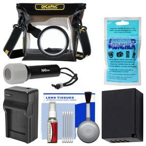 DiCAPac WP-S3 Waterproof Case for ILC Cameras with NP-W126 Battery and Charger + LED Torch + Kit for Fuji X-A10 X-A3 X-E2S