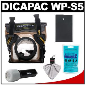 DiCAPac WP-S5 Waterproof Case for Compact DSLR Cameras with EN-EL14 Battery + LED Torch + Accessory Kit