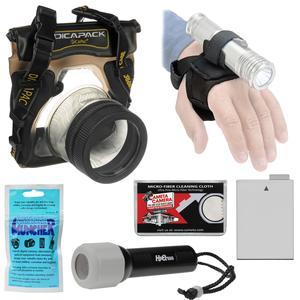 DiCAPac WP-S5 Waterproof Case for Compact DSLR Cameras with LP-E8 Battery + LED Torch and Handstrap + Accessory Kit
