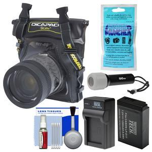 DiCAPac WP-S5 Waterproof Case for Compact DSLR Cameras with PT-LPE17 Battery and Charger + LED Torch + Kit for Canon Rebel T6s T6i T7i M5