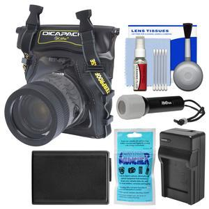 DiCAPac WP-S5 Waterproof Case for Compact DSLR Cameras with NP-FW50 Battery and Charger + LED Torch + Accessory Kit for Sony Alpha A7 A7R A7S II