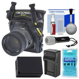 DiCAPac WP-S5 Waterproof Case for Compact DSLR Cameras with NP-W126S Battery-Charger + LED Torch + Kit for Fuji X-PRO2 X-T1 X-T10 X-T2 X-T20
