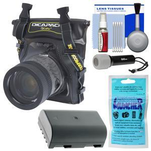 DiCAPac WP-S5 Waterproof Case for Compact DSLR Cameras with DMW-BLF19 Battery + LED Torch + Accessory Kit for Panasonic Lumix DMC-GH4 DC-GH5