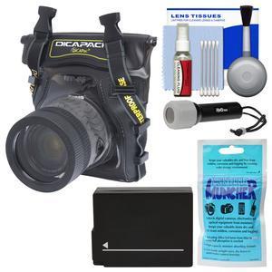 DiCAPac WP-S5 Waterproof Case for Compact DSLR Cameras with DMW-BCL12 Battery + Torch + Kit for Panasonic Lumix DMC-G6 DMC-G7 DMC-G85 DMC-GX8