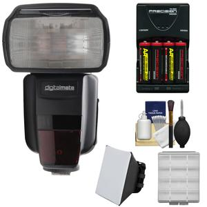 Digitalmate 680 Power Zoom AF Flash with LCD Display - for Nikon I-TTL - with Batteries and Charger + Soft Box Kit