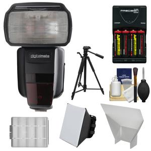 Digitalmate 680 Power Zoom AF Flash with LCD Display-for Canon EOS E-TTL-with Batteries and Charger and Soft Box and Bounce Reflector and Tripod and Kit
