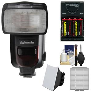 Digitalmate 780 Power Zoom AF Flash with LCD Display-for Canon EOS E-TTL-with Batteries and Charger and Soft Box Kit