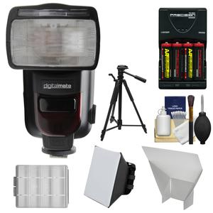 Digitalmate 780 Power Zoom AF Flash with LCD Display - for Canon EOS E-TTL - with Batteries and Charger + Soft Box + Bounce Reflector + Tripod + Kit