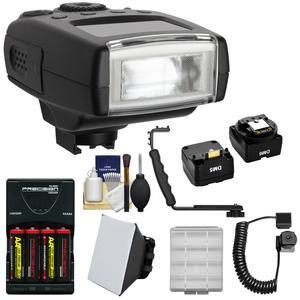 Digitalmate 130 High Power Compact Flash-for Sony Alpha-NEX Cameras-with Batteries and Charger and Bracket and Off-Camera Cord and Soft Box and Kit