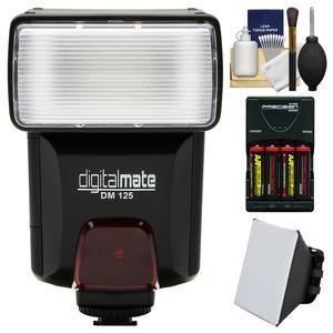 Digitalmate DM125 Universal Automatic Slave Bounce Flash with Soft Box Diffuser and Batteries and Charger and Kit