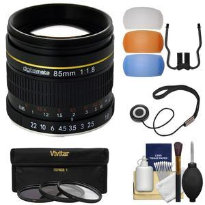 Digitalmate 85mm f-1.8 Aspherical Telephoto Lens - for Canon EOS Cameras - + 3 UV-CPL-ND8 Filters + Flash Diffusers + Kit