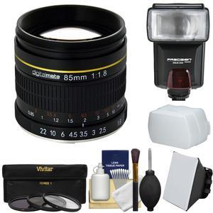 Digitalmate 85mm f-1.8 Aspherical Telephoto Lens - for Nikon Cameras - + 3 UV-CPL-ND8 Filters + Flash + Diffusers + Kit