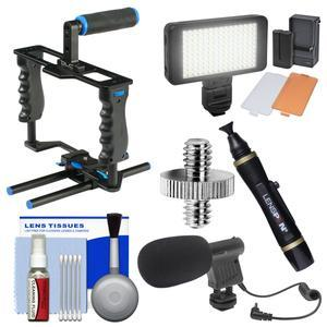 dlc DL-GB3 HDSLR Camera Gear Box Video Cage Stabilization Rig with LED Video Light + Microphone + Cleaning Kit