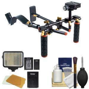 DLC V2 HD-DSLR Camera Video Rig Shoulder Brace Stabilizer with LED Video Light and Cleaning Kit