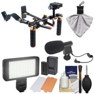 DLC V2 HD-DSLR Camera Video Rig Shoulder Brace Stabilizer with LED Video Light and Microphone + Kit