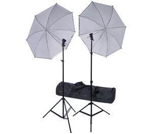 RPS Studio Deluxe Wireless Speedlite Studio Kit 2 Umbrellas  2 Stands  1 4-Channel Wireless Transmitter  2 Receivers And Case