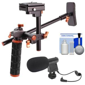 DLC HD-DSLR Camera Video Rig Shoulder Brace Stabilizer with Microphone and Cleaning Kit