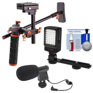 DLC HD-DSLR Camera Video Rig Shoulder Brace Stabilizer with LED Video Light and Microphone and Cleaning Kit