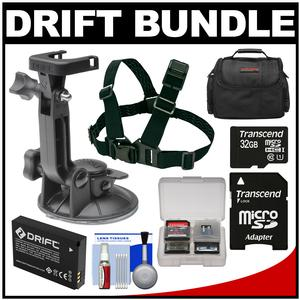 Drift Innovation Suction Cup Mount with Shoulder Mount and 32GB Card and Battery and Case and Accessory Kit
