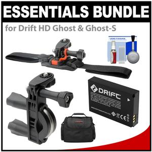 Essentials Bundle for Drift HD Ghost and Ghost-S Action Camcorder with Handlebar Bike and Vented Helmet Mounts + Battery + Case + Accessory Kit
