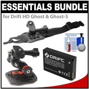 Essentials Bundle for Drift HD Ghost and Ghost-S Action Camcorder with Curved Helmet and Arm Mounts and Battery and Cleaning Kit