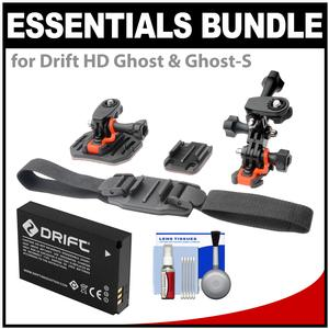 Essentials Bundle for Drift HD Ghost and Ghost-S Action Camcorder with Helmet and Flat Surface Mounts + Battery + Cleaning Kit