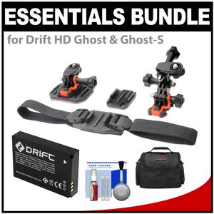 Essentials Bundle for Drift HD Ghost and Ghost-S Action Camcorder with Helmet and Flat Surface Mounts + Battery + Case + Accessory Kit