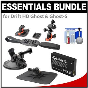 Essentials Bundle for Drift HD Ghost & Ghost-S Action Camcorder with Helmet Flat Surface & Car Mounts + Battery + Accessory Kit