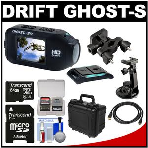 Drift Innovation HD Ghost-S Wi-Fi Waterproof Digital Video Action Camera Camcorder with Suction Cup & Handlebar Bike Mounts + 64GB Card + Hard Case + Kit