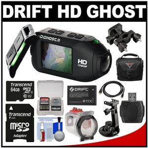 Drift Innovation HD Ghost Wi-Fi Waterproof Digital Video Action Camera Camcorder with Underwater Housing + Suction Cup & Bike Mounts + 64GB Card + Battery + Case + Kit