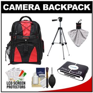 Precision Design Multi-Use Laptop/Tablet Digital SLR Camera Backpack Case (Black/Red) with Spudz Cleaning Cloth + Multi-Card Reader + Tripod + Accessory Kit