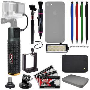 Vidpro PG-6 6000mAh Battery Hand Grip Monopod for GoPro and Smartphones with LED Video Light + Selfie Stick + Custom Case and Foam + Kit