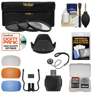 58mm Essentials Bundle with 3 UV-CPL-ND8 Filters and Lens Hood and 4 Pop-Up Flash Diffusers and Card Reader and Kit