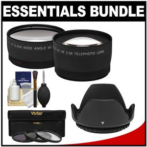 49mm Essentials Bundle with Telephoto and Wide-Angle Lenses + 3 UV-CPL-ND8 Filters + Lens Hood + Cleaning Kit