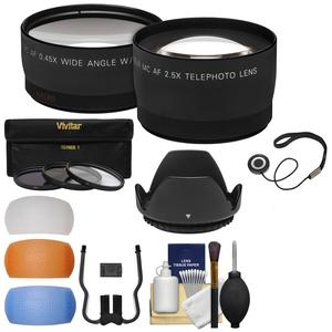 49mm Essentials Bundle with Tele-Wide-Angle Lenses + 3 UV-CPL-ND8 Filters + Lens Hood + 4 Pop-Up Diffusers + Kit
