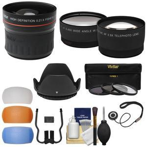 52mm Essentials Bundle with Fisheye + Tele-Wide-Angle Lenses + 3 Filters + Lens Hood + 3 Pop-Up Diffusers + Kit