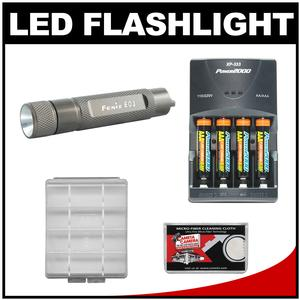 Fenix E01 LED Waterproof Mini Torch Flashlight and AAA Battery-Olive-with 4 AAA Rechargeable Batteries and Charger and Case and Cleaning Cloth