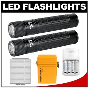 Fenix E11 LED Waterproof Torch Flashlight with Additional E11 Mini Flashlight + Batteries/Charger + Battery Case + Waterproof Case
