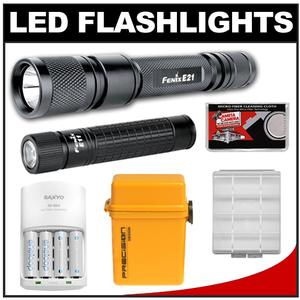 Fenix E21 LED Waterproof Torch Flashlight with Fenix E11 Mini Flashlight + Batteries/Charger + Battery Case + Waterproof Case