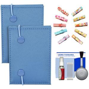 Fujifilm Instax Mini Accordion Photo Album - Blue - - 2 Pack - with Wood Peg Clips + Cleaning Kit